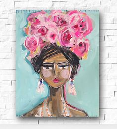 Girl painting portrait tropical, women of color, impressionist orig. 16 x by Marendevineart