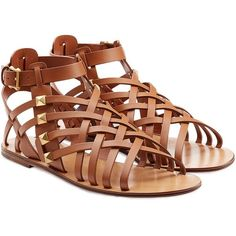 Valentino Rockstud Gladiator Sandals found on Polyvore featuring shoes, sandals, flats, sapatos, flat sandals, camel, women, camel flats, greek sandals and valentino shoes