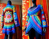 Crochet Coat - Aztec Sun Mandala And Granny Squares - RESERVED FOR Miss M