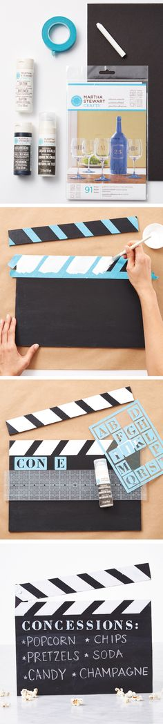 A great DIY for your next movie night or Oscars viewing party, impress your gues. A great DIY for your next movie night or Oscars viewing party, impress your guests with this clapboard menu from Movie Theater Party, Cinema Party, Movie Night Party, Party Time, Movie Nights, Game Night, Diy Birthday Decorations, Birthday Diy, Camping Decorations