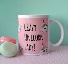 Crazy Unicorn Lady // Illustrated Unicorn Mug by Lazylinepainterbelle on Etsy https://www.etsy.com/listing/229512930/crazy-unicorn-lady-illustrated-unicorn