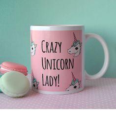 Crazy Unicorn Lady // Illustrated Unicorn Mug by Lazylinepainterbelle on Etsy https://www.etsy.com/listing/229512930/crazy-unicorn-lady-illustrated-unicorn