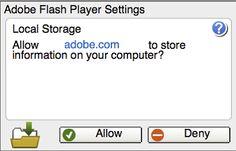 Adobe - Flash Player : Help - Local storage pop-up question