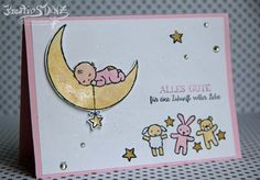 KreativStanz Moon Baby Stempelset von Stampin' Up! Geburt rosa Mädchen #stampinup #baby http://kreativstanz.bastelblogs.de/