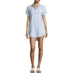 Onia Jesse Seersucker Button-Front Coverup (470 ILS) ❤ liked on Polyvore featuring tops, white pattern, slim fit short sleeve shirts, stripe shirt, white short sleeve shirt, short sleeve tops and striped shirt