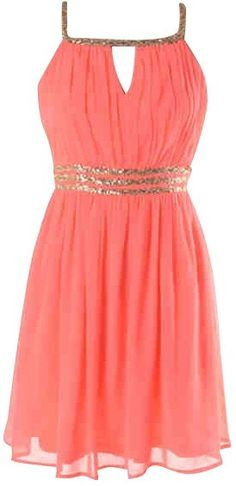 Coral Sequin Dress<br/><div class='zoom-vendor-name'>By <a href=http://www.ustrendy.com/kely-clothing>Kely Clothing </a></div>