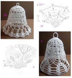 Campane Crochet Stocking, Crochet Tree, Crochet Angels, Crochet Ornaments, Crochet Snowflakes, Crochet Crafts, Crochet Doilies, Crochet Flowers, Crochet Projects