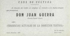 """""""Tendencias actuales de la dirección teatral"""" conferencia de Juan Guerra en la Casa de Cultura Cuenca noviembre 1969 #Cuenca #Teatro #CasaCulturaCuenca #JuanGuerra"""