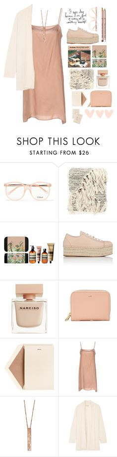 """""""Something beautiful"""" by braincontortion ❤ liked on Polyvore featuring Chloé, Oysho, Monday, Aesop, Miu Miu, Narciso Rodriguez, A.P.C., Dempsey & Carroll, Aveda and Liviana Conti"""