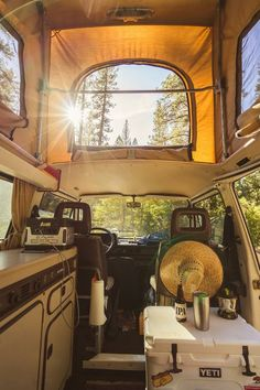 Now I really want a pop-top! It makes the interior of the camper look so big and bright! Doesn't take much conversion when you have a cool van like this!