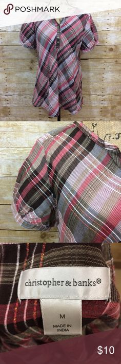 CJ Banks Plaid Blouse Pink plaid blouse from CJ Banks. Size medium. Open to offers! Christopher & Banks Tops Blouses