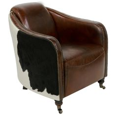 Safavieh Couture Collection Fullham Oak Vintage Cigar Brown Leather Arm Chair (KNT5001A) (Brass)