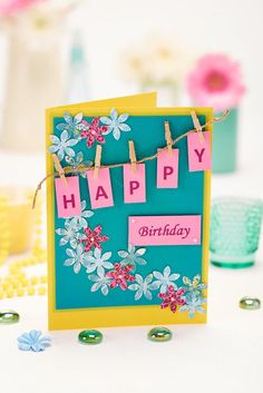 Beautiful pegged birthday wishes! #DIY #CardMaking #Birthday