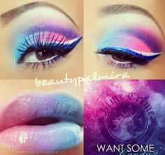 cute cotton candy eye and lips makeup