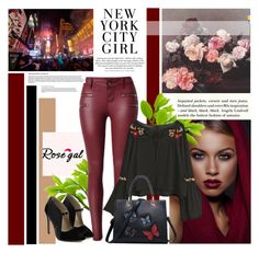 """""""Rosegal 22"""" by followme734 ❤ liked on Polyvore featuring H&M, rosegal, bellsleewes, letherpants and butterflytotebag"""