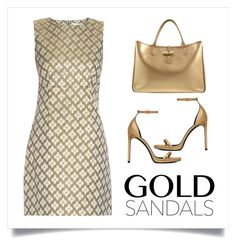 """gold sandals"" by juliet-mary ❤ liked on Polyvore featuring Diane Von Furstenberg, Yves Saint Laurent and Longchamp"