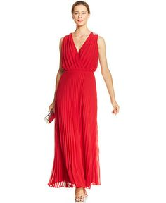 Alex Evenings Embellished Pleated Faux-Wrap Gown - Dresses - Women - Macy's