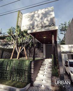 Ukuran bangunan 8 m x 12 m __________________________________________ K A R Y A S T U D I O 9 9 work with the heart hopefully inspire… Modern Tropical House, Tropical House Design, Tropical Houses, House Roof, Facade House, Facade Design, Exterior Design, Modern Architecture House, Architecture Design