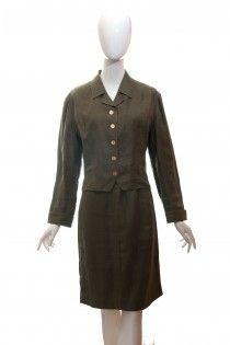 CHANEL khaki zelený lněný kostým se zlatými knoflíky 38 1dce9026a22