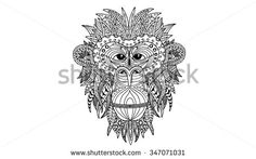 The head of a monkey with a vintage pattern in ethnic style. Symbol of 2016. Stylized monkey portrait with outlines and patterns