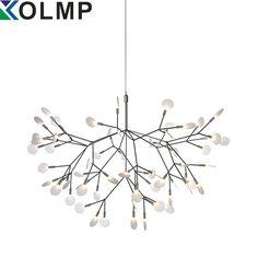 White/Black/Rose Gold Modern Suspension Firefly Pendant Light Creative Design Snowflake Tree Leaf Pendant Lightings D50/72CM