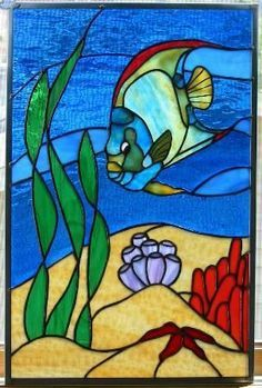 Image result for beach scene stained glass patterns