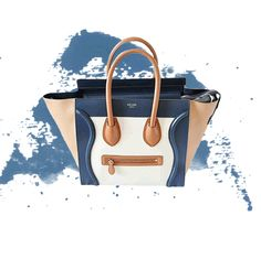 8be86951a04 Calfskin, Tricolour mini luggage purse by Celine. Cream, tan and blue  combination with gold hardware in pristine condition. Shop now at the link  below!