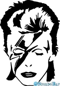 A David Bowie cross-stitch pattern created by me. Can't wait until I have time to finish this project! Stencil Patterns, Stencil Art, Stenciling, Pop Art, Bowie Ziggy Stardust, Silhouette Art, Vinyl Decals, Street Art, Sketches