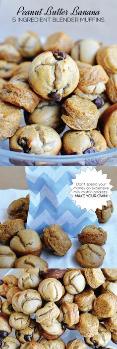 Simple 5 ingredient blender muffins using ripe bananas. They taste great and are healthy too!  Make your own mini muffin packs. #muffins