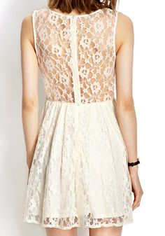 Red Rose Lace Dress – White