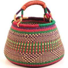 Baskets of Africa Ghana Bolga Gambibgo Pot Contemporary Baskets, Baskets On Wall, Woven Baskets, Making Baskets, Basket Crafts, Art Africain, Basket Bag, Basket Weaving, Bamboo Weaving