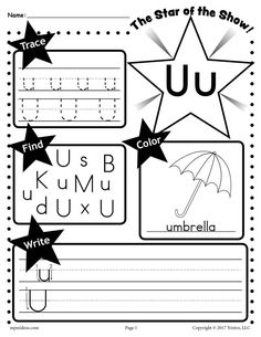 FREE Letter U Worksheet: Tracing, Coloring, Writing & More! Free Printable Alphabet Worksheets, Letter Worksheets For Preschool, Preschool Letters, Letter Activities, Kindergarten Worksheets, Kindergarten Age, Handwriting Worksheets, Handwriting Practice, Preschool Math