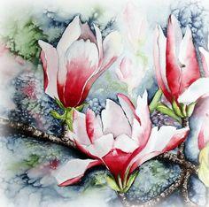 "Watercolour ""Magnolie im Frost"" Maria Inhoven"