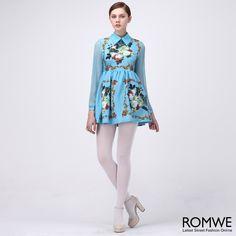Sheer Sleeved Floral Dress #Romwe