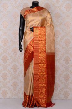 9304ed1103052 Beige stunning kanchipuram silk saree with orange   dull gold  border-SR18680 - Pure Kanchipuram