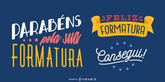 This is a nice congratulatory message written in portuguese utilizing an interesting combination of fonts. Graduation Congratulations Message, Graduation Message, Congratulations Graduate, Powerpoint Free, Creative Powerpoint, Layout Template, Templates, Electronic Media, Create A Logo