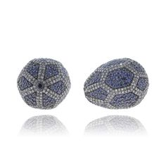 Blue Sapphire Bead Finding Sterling Silver Pave Diamond Handmade Spacer Bracelet Beads Finding For Jewelry Making VDJFI-12456 by VintageDiamondJewels on Etsy