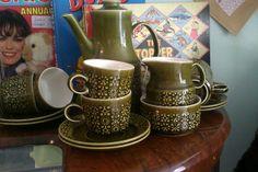 Wonderful Connemara Celtic Coffee Set 6 cups & saucers, Coffee Pot, Milk/Cream Jug & Sugar Bowl. perfect condition £40