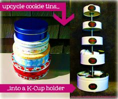 Upcycled Cookie Tin K-Cup Holder - my own K-cup holder out of cookie tins, which can hold over 70 K-cups! I added chalkboard labels to help me organize my coffee by flavor and strength Diy Craft Projects, Diy Crafts, Craft Ideas, Diy Ideas, Fall Crafts, Creative Ideas, Paper Crafts, Craft Organization, Craft Storage