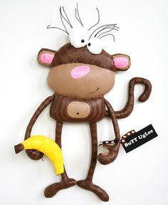 MonKeY named NoKia ... WhimsicaL WaLL ArT ... brown polka dots ...