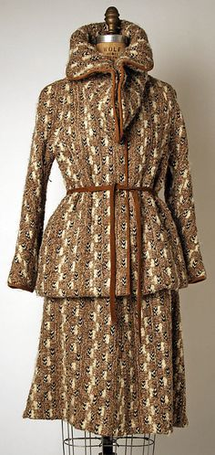 suit; bonnie cashin (1908-2000); manufactured by philip sills & co. (founded in 1946); 1973; wool and leather