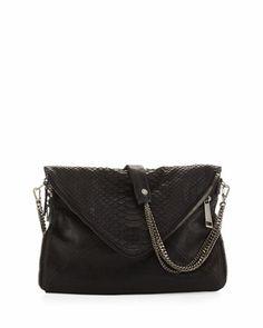 Slash Printed Python-Embossed Envelope Bag, Black by BOYY at Bergdorf Goodman.