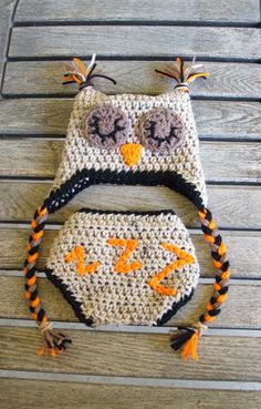 Sleepy Time Owl Diaper Cover & Hat Set  (Newborn - 3 months)