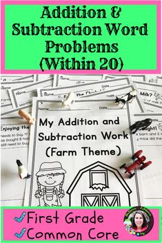 Addition & Subtraction Word Problems Within 20 Practice Sheets: Farm Theme - Real Time - Diet, Exercise, Fitness, Finance You for Healthy articles ideas Math Resources, Math Activities, Math Games, Math Centers, Math Stations, Math Lessons, Math Skills, Math Word Problems, Teaching Math