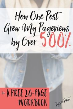 My blog was doing well, but there was definite room for improvement. After writing one blog post, my average pageviews have jumped over 500%. Read the steps I took to get there and grab the FREE 20-page workbook to explode your pageviews as well!