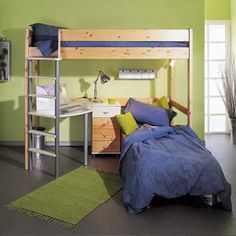 Loft bed with desk, additional seating / sleeping in neutral wood (vs. white).