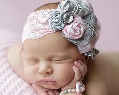 "Pink and grey matching newborn headband and bracelet""amazing"""