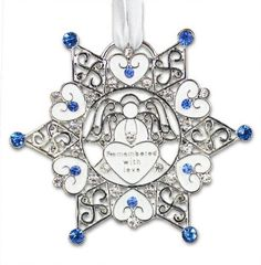 "Remembrance snowflake ornament Jeweled Accents surround this ornament ""Remembered with Love"" message: Treasured Remembrance May treasured memories fill your hea"