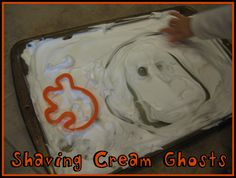 Shaving cream is so good for toddlers to work with. Making Halloween shaving cream ghosts is a great idea!