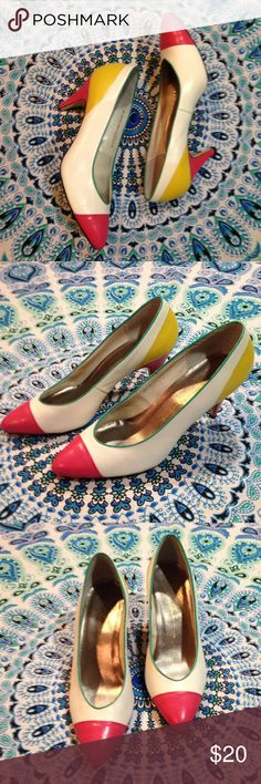 Vtg 80s Sz 8.5 White Leather Color Block Pumps Chandlers 80s white leather heels with pink and yellow color blocking and green piping  Size 8 1/2  Minimal signs of wear  Part of one of the heel caps is broken off.  Two and three-quarter inches heel. Vintage Shoes Heels